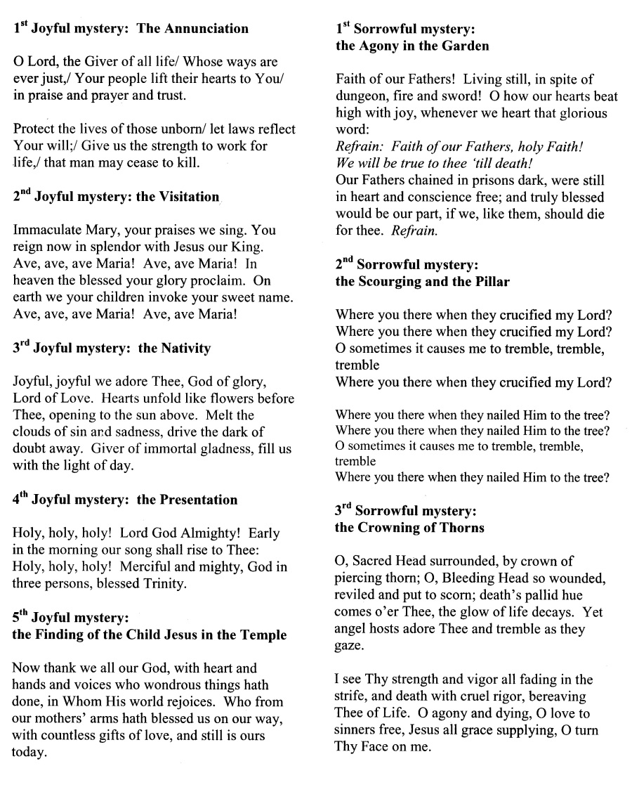 Prayer Cards & Song Sheets – The Louisville Helpers of God's