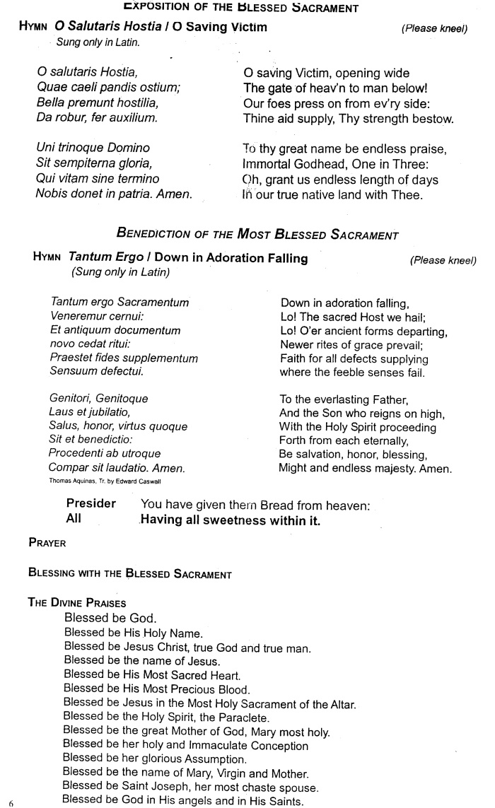 Benediction Sheet - Front